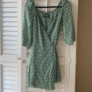 Reformation wrap green floral dress